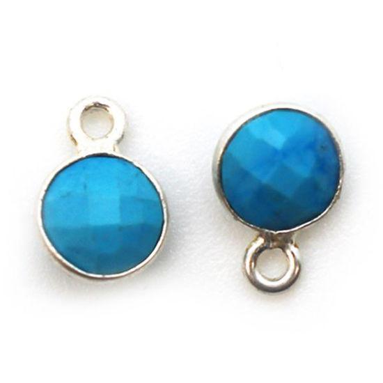Wholesale Sterling Silver Bezel Charm Pendant - 7mm Tiny Circle Shape - Turquoise