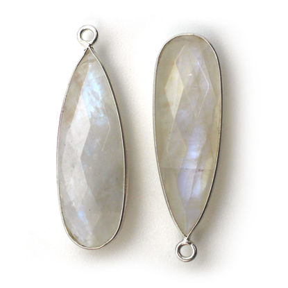 Wholesale Sterling Silver Bezel Charm Pendant - 34x11mm Elongated Teardrop - Rainbow Moonstone - June Birthstone