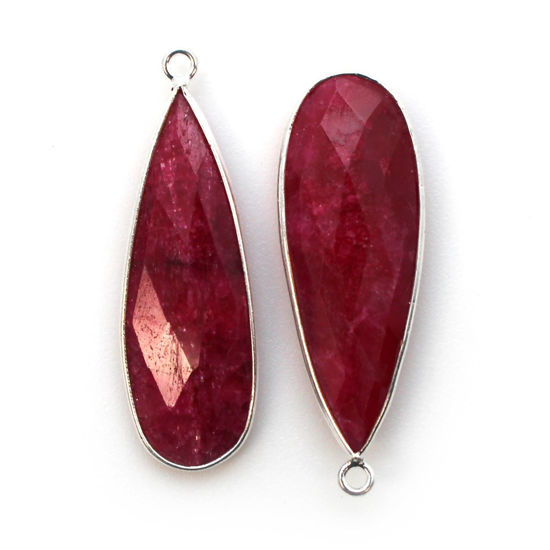 Wholesale Sterling Silver Bezel Charm Pendant - 34x11mm Elongated Teardrop - Ruby Dyed - July Birthstone