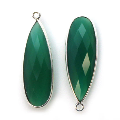 Wholesale Sterling Silver Bezel Charm Pendant - 34x11mm Elongated Teardrop - Green Onyx