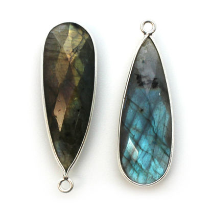 Wholesale Sterling Silver Bezel Charm Pendant - 34x11mm Elongated Teardrop - Labradorite