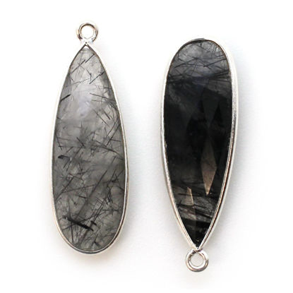Wholesale Sterling Silver Bezel Charm Pendant - 34x11mm Elongated Teardrop - Black Rutilated Quartz