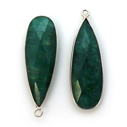 Wholesale Sterling Silver Bezel Charm Pendant - 34x11mm Elongated Teardrop - Emerald Dyed - May Birthstone