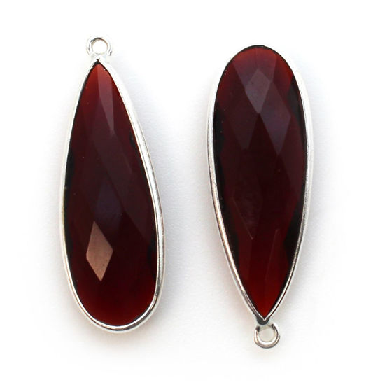 Wholesale Sterling Silver Bezel Charm Pendant - 34x11mm Elongated Teardrop - Garnet Quartz - January Birthstone