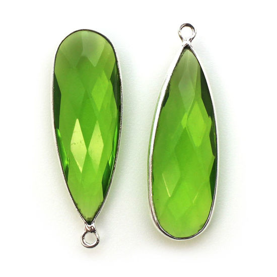 Wholesale Sterling Silver Bezel Charm Pendant - 34x11mm Elongated Teardrop - Peridot Quartz - August Birthstone