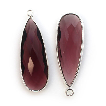 Wholesale Sterling Silver Bezel Charm Pendant - 34x11mm Elongated Teardrop - Pink Amethyst Quartz