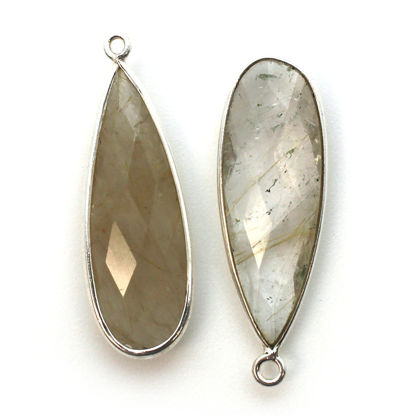 Wholesale Sterling Silver Bezel Charm Pendant - 34x11mm Elongated Teardrop - Gold Rutilated Quartz