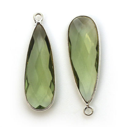 Wholesale Sterling Silver Bezel Charm Pendant - 34x11mm Elongated Teardrop - Green Amethyst Quartz