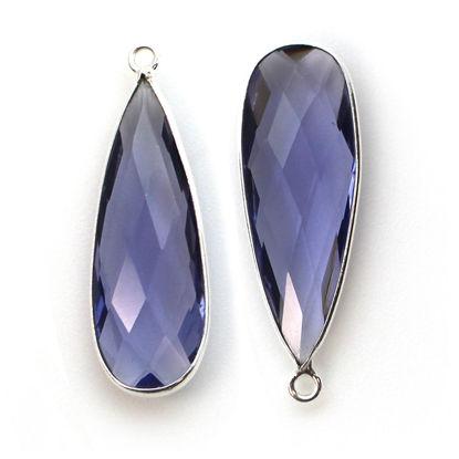 Wholesale Sterling Silver Bezel Charm Pendant - 34x11mm Elongated Teardrop - Iolite Quartz