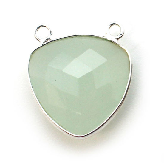 Wholesale Sterling Silver Bezel Gemstone Connector Pendant - 18mm Faceted Large Trillion Shape - Aqua Chalcedony