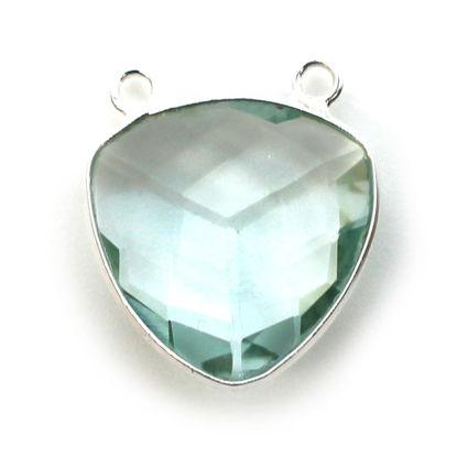 Wholesale Sterling Silver Bezel Gemstone Connector Pendant - 18mm Faceted Large Trillion Shape - Aqua Quartz - March Birthstone
