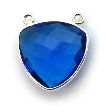 Wholesale Sterling Silver Bezel Gemstone Connector Pendant - 18mm Faceted Large Trillion Shape - Blue Quartz