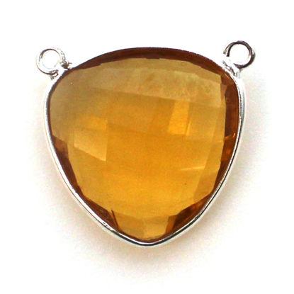 Wholesale Sterling Silver Bezel Gemstone Connector Pendant - 18mm Faceted Large Trillion Shape - Citrine Quartz - November Birthstone