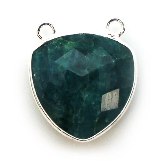 Wholesale Sterling Silver Bezel Gemstone Connector Pendant - 18mm Faceted Large Trillion Shape - Emerald Dyed - May Birthstone