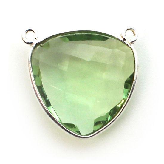Wholesale Sterling Silver Bezel Gemstone Connector Pendant - 18mm Faceted Large Trillion Shape - Green Amethyst Quartz