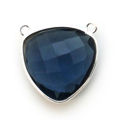 Wholesale Sterling Silver Bezel Gemstone Connector Pendant - 18mm Faceted Large Trillion Shape - Iolite Quartz
