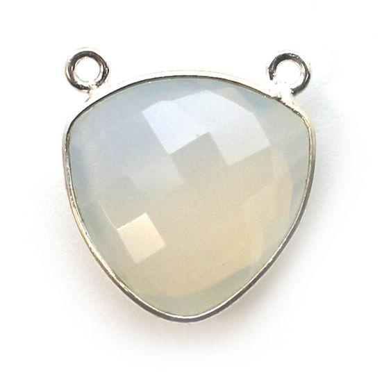 Wholesale Sterling Silver Bezel Gemstone Connector Pendant - 18mm Faceted Large Trillion Shape - Opalite Quartz - October Birthstone
