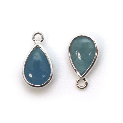 Wholesale Bezel Charm Pendant - Sterling Silver Charm - Natural Aquamarine - Tiny Teardrop Shape - March Birthstone