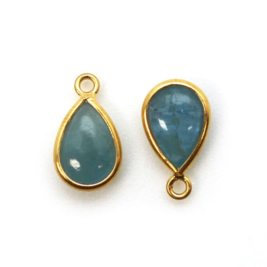 Wholesale Bezel Charm Pendant - Gold Plated Sterling Silver Charm - Natural Aquamarine  - Tiny Teardrop Shape - March Birthstone