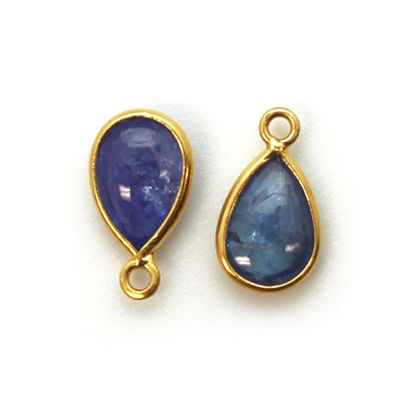 Wholesale Bezel Charm Pendant - Gold Plated Sterling Silver Charm - Natural Tanzanite  - Tiny Teardrop Shape - December Birthstone