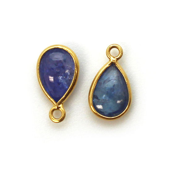 Wholesale Bezel Charm Pendant - Gold Plated Sterling Silver Charm - Natural Tanzanite  - Tiny Teardrop Shape - December Birthstone