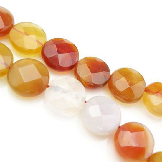 Wholesale Natural Agate Beads - 12mm Faceted Coin (sold per strand)