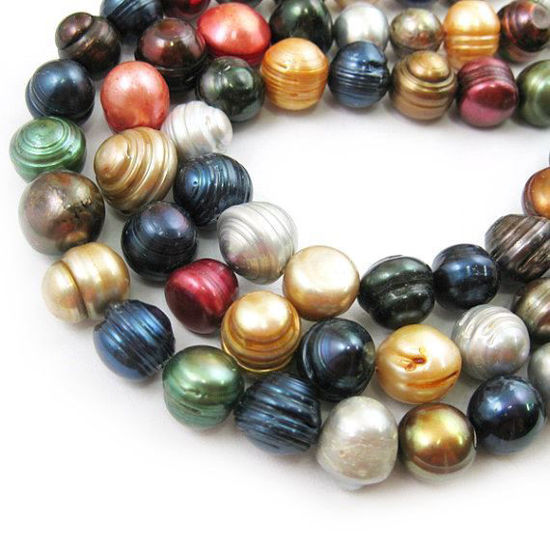 Wholesale Multi-Color Big Freshwater Pearl, 12-14mm Round Shape with Rings - June Birthstone (Sold Per Strand)
