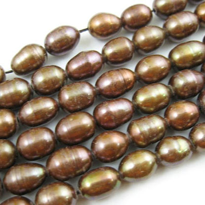 Wholesale Freshwater Pearl Strand 6-7mm Choloate Brown Rice Shape Pearls Wholesale Pearls for Beading and Jewelry Making