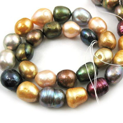 Wholesale Multi-Colored Freshwater Pearls, 14-16mm Rice Shape - June Birthstone (Sold Per Strand)