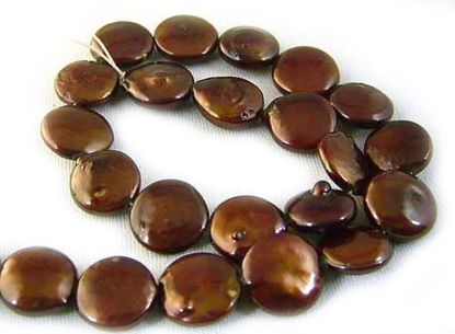 Wholesale Brown Freshwater Pearls, 11-12mm Coin Shape - June Birthstone (Sold Per Strand)