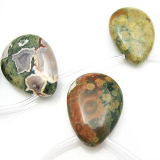Wholesale Natural Rainforest Jasper Beads - Smooth Pear Shape (Sold Per Strand)