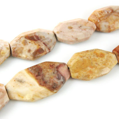 Wholesale Jasper Natural Stone Beads - 35x23mm Flat Geometric (Sold Per Strand)