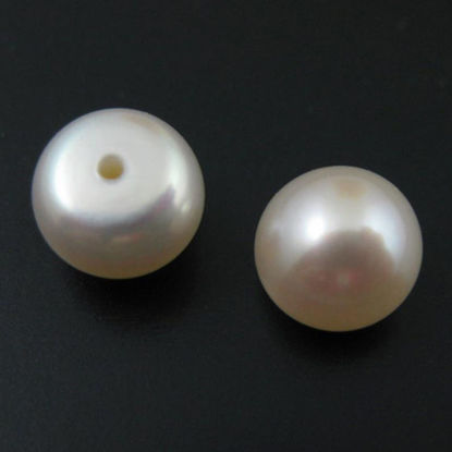 Wholesale White Freshwater Button Pearls 8-8.5mm - June Birthstone (Sold Per Pair)