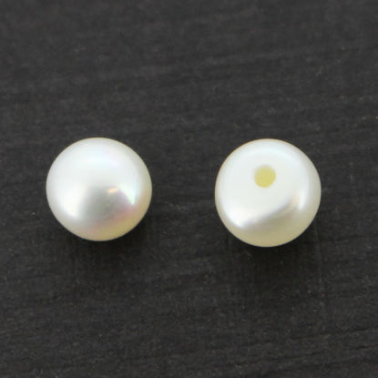 Wholesale White Freshwater Button Pearls 5-6mm - June Birthstone (Sold Per Pair)