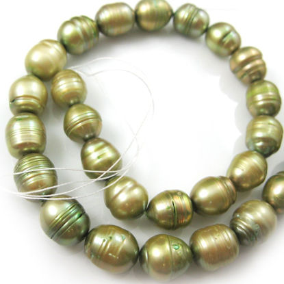 Wholesale Green Freshwater Pearls - 10-12mm Rice Shape (Sold Per Strand)