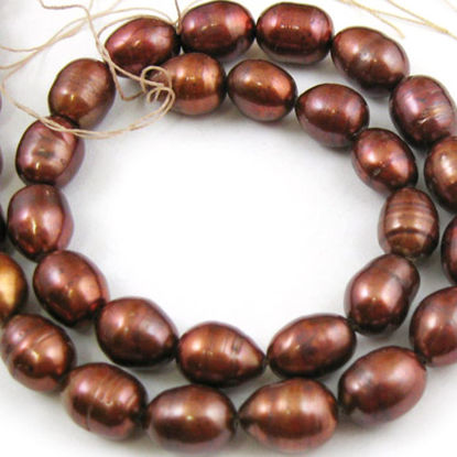 Wholesale Chocolate Brown Colored Freshwater Pearls, 11-12mm Rice Shape - June Birthstone (Sold Per Strand)