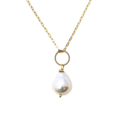"""Wholesale Gold Over Sterling Silver White Teardrop Freshwater Pearl Twisted Ring Necklace - 16"""""""