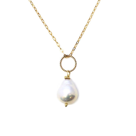 Wholesale Gold Over Sterling Silver White Teardrop Freshwater Pearl Twisted Ring Necklace - 16""