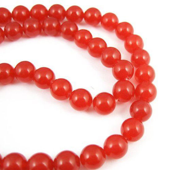 Wholesale Red Jade Beads - 8mm Smooth Round (Sold Per Strand)