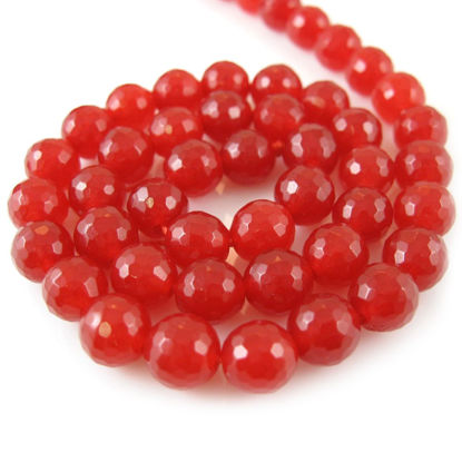 Wholesale Red Jade Beads - 8mm Faceted Round (Sold Per Strand)