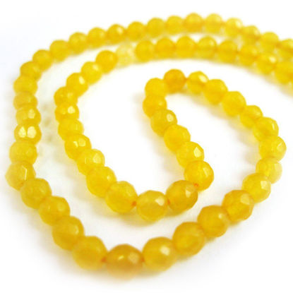 Wholesale Yellow Jade Beads - 4mm Faceted Round (Sold Per Strand)