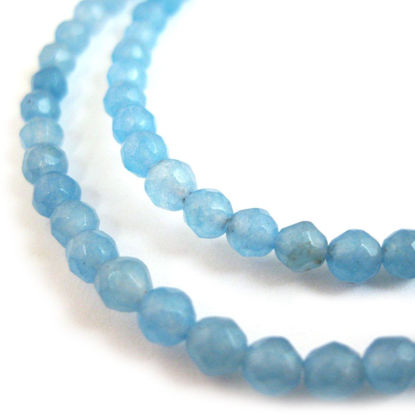 Wholesale Blue Jade Beads - 4mm Faceted Round (Sold Per Strand)