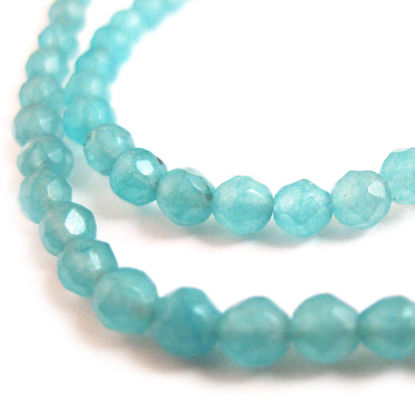 Wholesale Sky Blue Jade Beads - 4mm Faceted Round (Sold Per Strand)