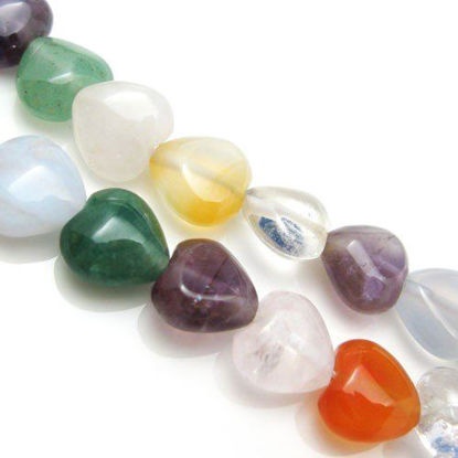 Wholesale Natural Multi-Stone Gemstone Beads - 10mm Smooth Heart Shape (Sold Per Strand)