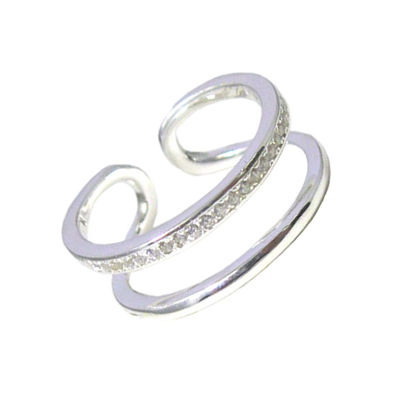 Wholesale 925 Sterling Silver CZ Stone Double Band Ring - Adjustable (1 piece)