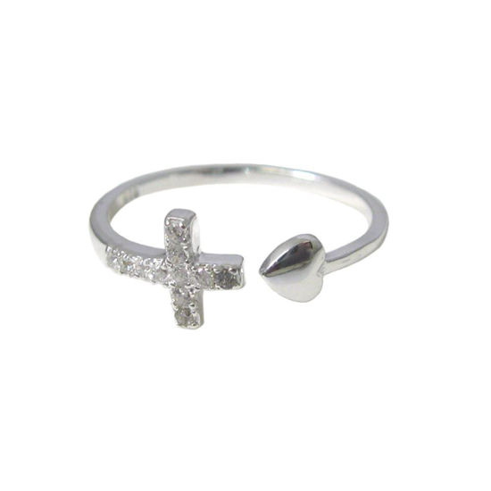Wholesale 925 Sterling Silver CZ Stone Cross and Heart Ring - Adjustable (1 piece)