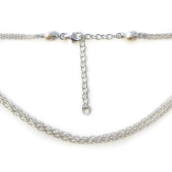 Wholesale Sterling Silver Adjustable Multi-strand Chain Necklace with Freshwater Pearls