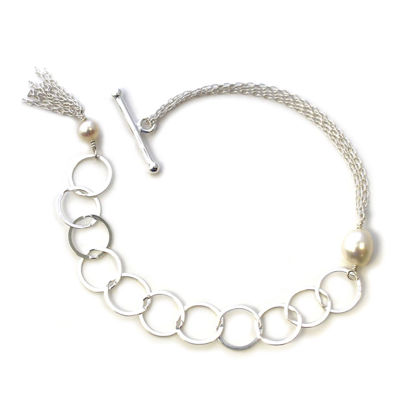 Wholesale Sterling Silver Adjustable Multi-strand Chain Freshwater Pearl Bracelet