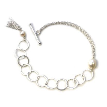 Wholesale Sterling Silver Adjustable Multi-strand Chain Freshwater Pearl Bracelet