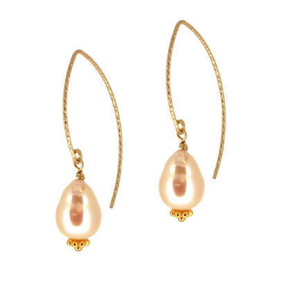 Wholesale Gold Filled Sparkle Marquise Teardrop Freshwater Pearl Earrings